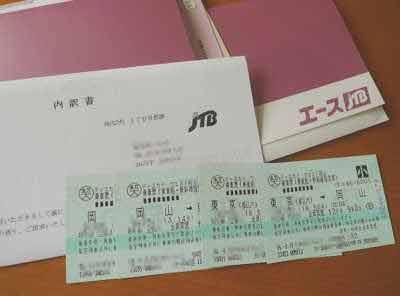 東京-岡山間の新幹線チケット